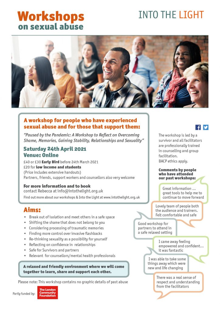 Into the Light – Workshops on sexual abuse – 24th April 2021